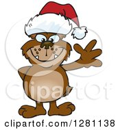 Clipart Of A Friendly Waving Bear Wearing A Christmas Santa Hat Royalty Free Vector Illustration