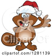 Clipart Of A Friendly Waving Beaver Wearing A Christmas Santa Hat Royalty Free Vector Illustration by Dennis Holmes Designs