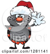 Clipart Of A Friendly Waving Ladybug Wearing A Christmas Santa Hat Royalty Free Vector Illustration by Dennis Holmes Designs
