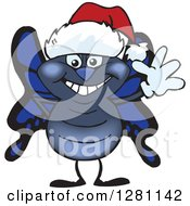 Clipart Of A Friendly Waving Blue Butterfly Wearing A Christmas Santa Hat Royalty Free Vector Illustration
