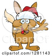 Clipart Of A Friendly Waving Bilby Wearing A Christmas Santa Hat Royalty Free Vector Illustration by Dennis Holmes Designs