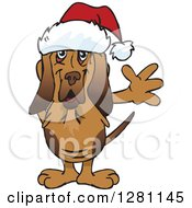 Clipart Of A Friendly Waving Bloodhound Dog Wearing A Christmas Santa Hat Royalty Free Vector Illustration