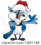 Clipart Of A Friendly Waving Blue Jay Bird Wearing A Christmas Santa Hat Royalty Free Vector Illustration by Dennis Holmes Designs