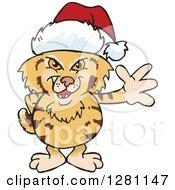 Clipart Of A Friendly Waving Bobcat Wearing A Christmas Santa Hat Royalty Free Vector Illustration by Dennis Holmes Designs