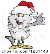 Clipart Of A Friendly Waving Bream Fish Wearing A Christmas Santa Hat Royalty Free Vector Illustration by Dennis Holmes Designs