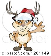 Clipart Of A Friendly Waving Buck Deer Wearing A Christmas Santa Hat Royalty Free Vector Illustration
