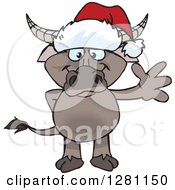 Clipart Of A Friendly Waving Buffalo Wearing A Christmas Santa Hat Royalty Free Vector Illustration by Dennis Holmes Designs