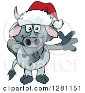 Clipart Of A Friendly Waving Brahman Bull Wearing A Christmas Santa Hat Royalty Free Vector Illustration