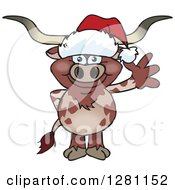 Clipart Of A Friendly Waving Longhorn Bull Wearing A Christmas Santa Hat Royalty Free Vector Illustration by Dennis Holmes Designs