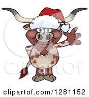 Clipart Of A Friendly Waving Longhorn Bull Wearing A Christmas Santa Hat Royalty Free Vector Illustration