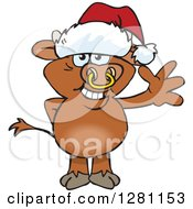 Clipart Of A Friendly Waving Bull Wearing A Christmas Santa Hat Royalty Free Vector Illustration by Dennis Holmes Designs