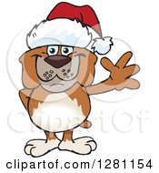 Clipart Of A Friendly Waving Brown Bulldog Wearing A Christmas Santa Hat Royalty Free Vector Illustration by Dennis Holmes Designs