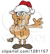Clipart Of A Friendly Waving Camel Wearing A Christmas Santa Hat Royalty Free Vector Illustration by Dennis Holmes Designs