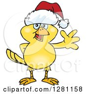 Clipart Of A Friendly Waving Yellow Canary Bird Wearing A Christmas Santa Hat Royalty Free Vector Illustration by Dennis Holmes Designs