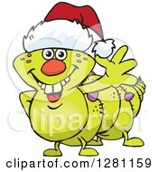 Clipart Of A Friendly Waving Caterpillar Wearing A Christmas Santa Hat Royalty Free Vector Illustration by Dennis Holmes Designs