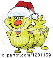 Clipart Of A Friendly Waving Caterpillar Wearing A Christmas Santa Hat Royalty Free Vector Illustration