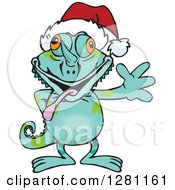 Clipart Of A Friendly Waving Chameleon Lizard Wearing A Christmas Santa Hat Royalty Free Vector Illustration by Dennis Holmes Designs