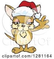 Clipart Of A Friendly Waving Chihuahua Dog Wearing A Christmas Santa Hat Royalty Free Vector Illustration