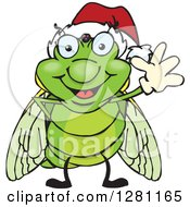 Clipart Of A Friendly Waving Cicada Wearing A Christmas Santa Hat Royalty Free Vector Illustration by Dennis Holmes Designs