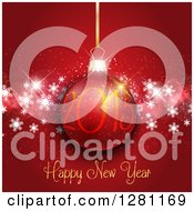 Clipart Of A Happy New Year 2015 Greeting With A Suspended Bauble Over Red And Snowflakes Royalty Free Vector Illustration