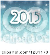 Clipart Of A Happy New Year 2015 Greeting Over Blue Bokeh Stars And Snowflakes Royalty Free Vector Illustration