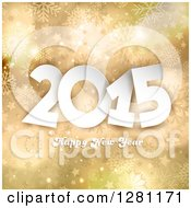 Clipart Of A Happy New Year 2015 Greeting Over Gold Stars And Snowflakes Royalty Free Vector Illustration