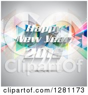 Clipart Of A Happy New Year 2015 Greeting Over Colorful Geometric Triangles And Gray Royalty Free Vector Illustration
