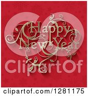 Clipart Of A Floral Ornate Golden Happy New Year Greeting Over Red Snowflakes And Stars Royalty Free Vector Illustration