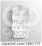 Clipart Of A White Cutout Paper Merry Christmas And A Happy New Year 2015 Greeting Over Shading Royalty Free Vector Illustration