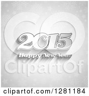 Clipart Of A Grayscale Happy New Year 2015 Greeting Withs Shadows Over Snowflakes And Stars Royalty Free Vector Illustration
