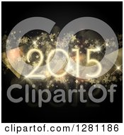 Clipart Of A New Year 2015 Over Stars Bokeh Flares And Geometric Triangles On Black Royalty Free Vector Illustration