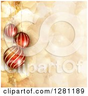 Clipart Of 3d Suspended Striped Christmas Baubles Over Gold Geometric Flares And Sparkles Royalty Free Vector Illustration by KJ Pargeter