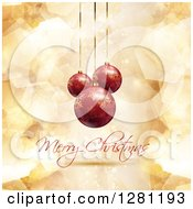 Clipart Of A Merry Christmas Greeting Under 3d Suspended Red Snowflakebaubles Over Gold Geometric Shapes And Stars Royalty Free Vector Illustration