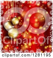Clipart Of 3d Gold Christmas Baubles Suspended Over Red And Gold Bokeh Flares And Stars With A Border Of White Snowflakes Royalty Free Vector Illustration