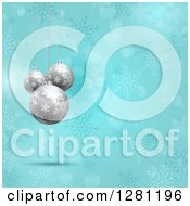 Clipart Of 3d Silver Christmas Baubles Suspended Over Blue Snowflakes And Bokeh Flares Royalty Free Vector Illustration by KJ Pargeter
