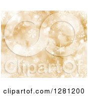 Clipart Of A Gold Christmas Background Of Bokeh Flares And Pretty Snowflakes Royalty Free Illustration
