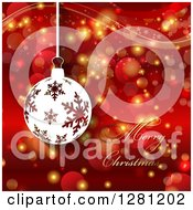 Clipart Of A Merry Christmas Greeting With A Snowflake Bauble Bokeh Flares And Waves Royalty Free Vector Illustration