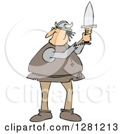 Cartoon Clipart Of A Chubby Male Viking Holding Up A Short Sword Royalty Free Vector Illustration