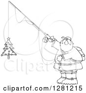 Black And White Chubby Santa Holding A Christmas Tree On A Fishing Hook