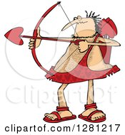 Cartoon Clipart Of A Chubby And Hairy Valentines Day Cupid Man Aiming His Arrow Royalty Free Vector Illustration