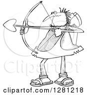 Black And White Chubby And Hairy Valentines Day Cupid Man Aiming His Arrow