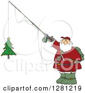Cartoon Clipart Of A Chubby Santa Holding A Christmas Tree On A Fishing Hook Royalty Free Vector Illustration