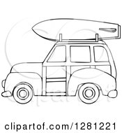 Clipart Of A Black And White Woodie Station Wagon With A Surfboard On Top Royalty Free Vector Illustration by Dennis Cox