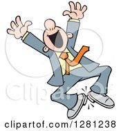 Very Happy White Businessman Jumping Cheering And Clicking His Heels Together