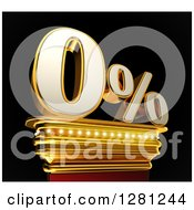 Clipart Of A 3d Zero Percent Discount On A Gold Pedestal Over Black Royalty Free Illustration