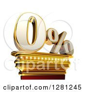 Clipart Of A 3d Zero Percent Discount On A Gold Pedestal Over White Royalty Free Illustration