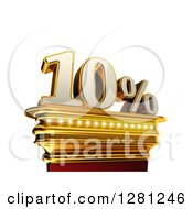 Clipart Of A 3d Ten Percent Discount On A Gold Pedestal Over White Royalty Free Illustration