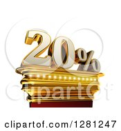 Clipart Of A 3d Twenty Percent Discount On A Gold Pedestal Over White Royalty Free Illustration