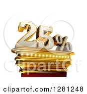 Clipart Of A 3d Twenty Five Percent Discount On A Gold Pedestal Over White Royalty Free Illustration