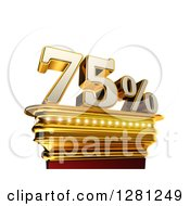 Clipart Of A 3d Seventy Five Percent Discount On A Gold Pedestal Over White Royalty Free Illustration